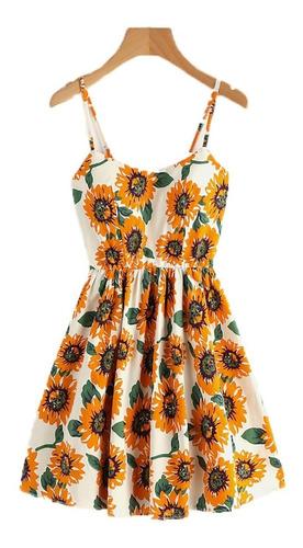 vestido corto girasoles vestidos casuales fiesta ropa mujer