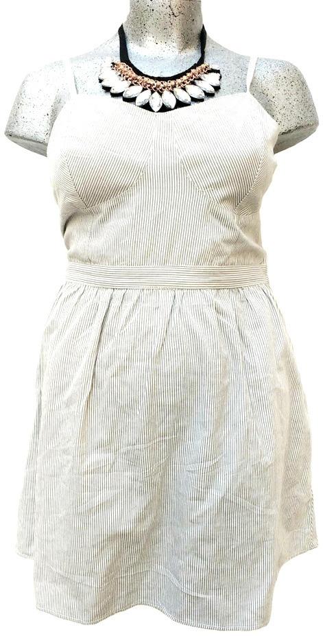 Vestido rayas gris y blanco