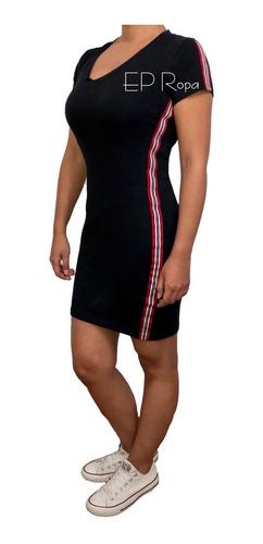 vestido corto juvenil cinta rayas laterales cuello v moda
