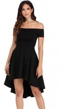 Vestido Corto Largo Sin Hombros Color Negro Rosa Moderno