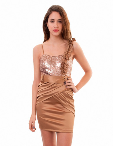 vestido corto, lentejuela y flores,  brishka m-0024