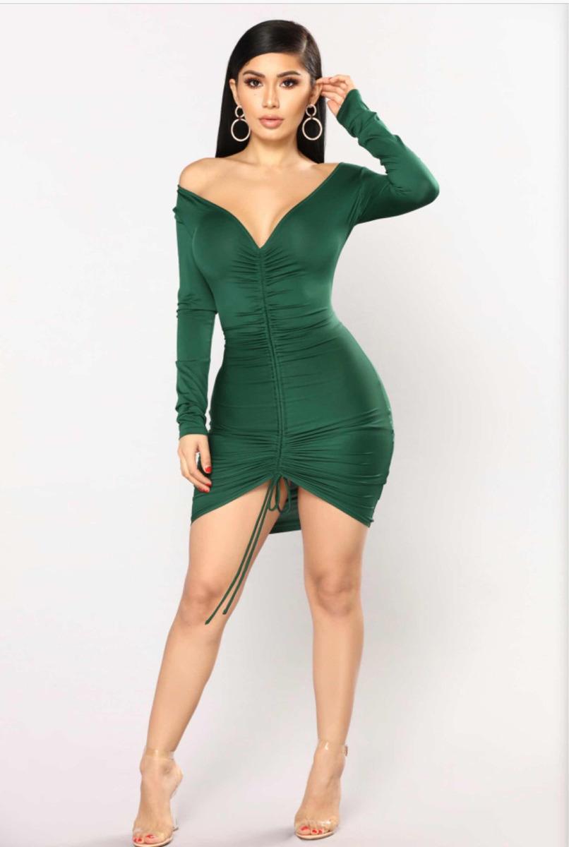 Vestido Verde Corto Manga Larga Vestidos De Coctel 2019