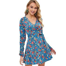 b2f710715867 Vestido Corto De Gasa Estampado - Vestidos de Mujer Casual Largo L ...