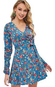 comprar original nuevo alto como escoger Vestido Corto Mangas Largas Con Estampado Floreado