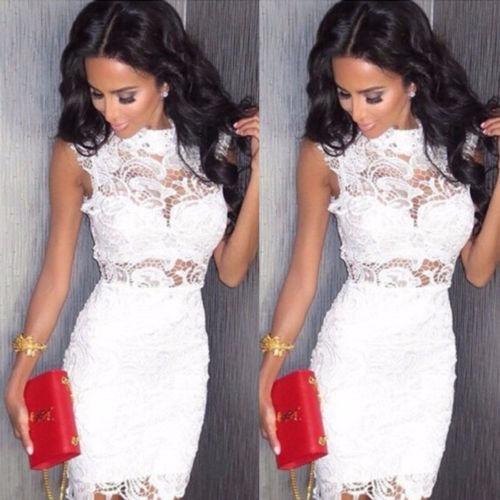 0e4b7bbf43931 vestido blanco corto encaje sexy mujer casual party cocktail · vestido  corto mujer casual