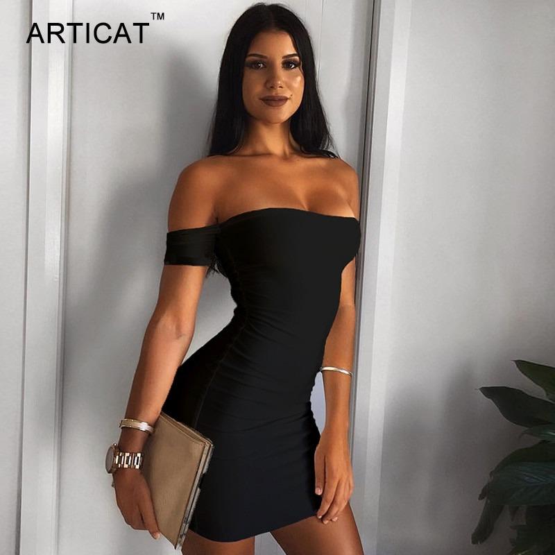 3752d627d3 vestido corto mujeres sexy sin hombros lápiz bodycon sexy. Cargando zoom.