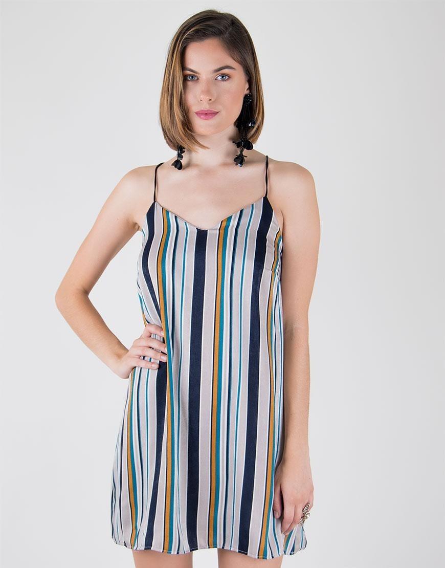 59ecf1ff4d2 Vestido Corto Multicolor A Rayas -   123.248 en Mercado Libre