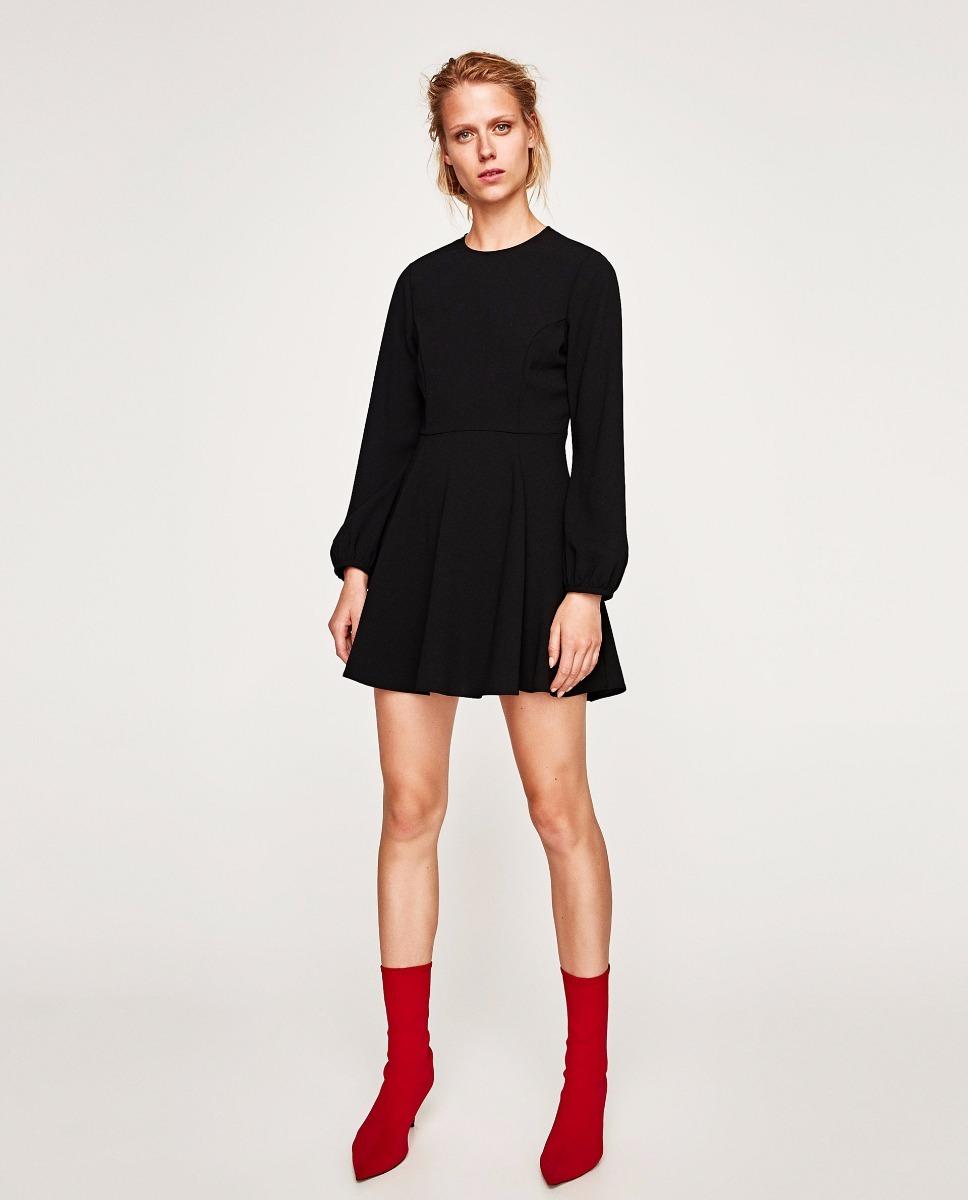 marca popular famosa marca de diseñador buscar Vestido Corto Negro Con Mangas Abullonadas Importado Zara