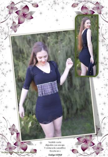vestido corto negro elastizado con bolero de regalo