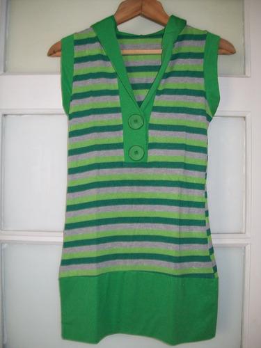 vestido corto o remera larga rayada en verde y gris talle s