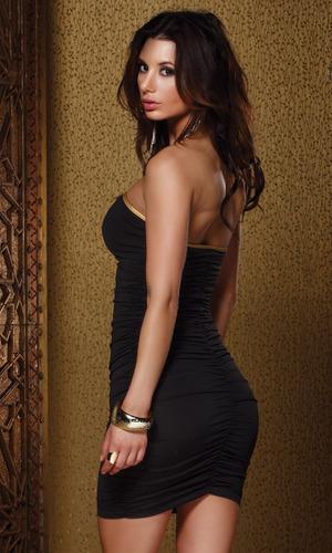 vestido corto sexy fiesta dorado negro usa strech s stock