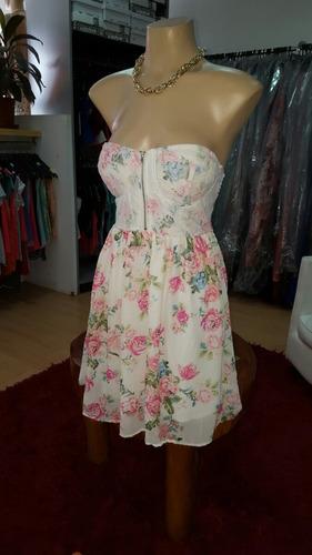 vestido corto strapless de gasa forrado...