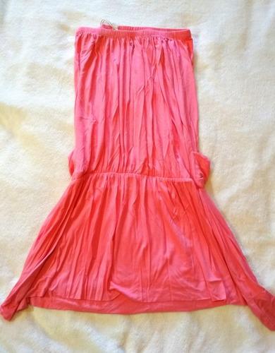 vestido corto strapless rosa ossira