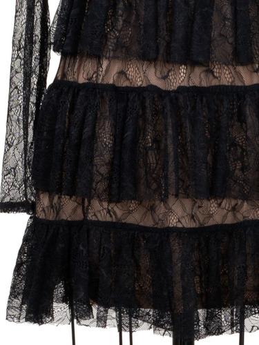 vestido corto tul holanes, transparencias, elegante, fiesta.