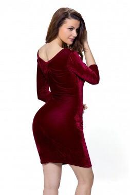 Vestido Corto Vino Terciopelo Envío Gratis