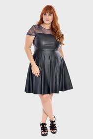 8cdbfb49151642 Vestido Couro Black Plus Size Preto-56/58