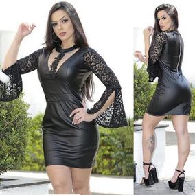 86a2b2683 Vestido Couro Renda - Vestidos Preto Curto com o Melhores Preços no Mercado  Livre Brasil