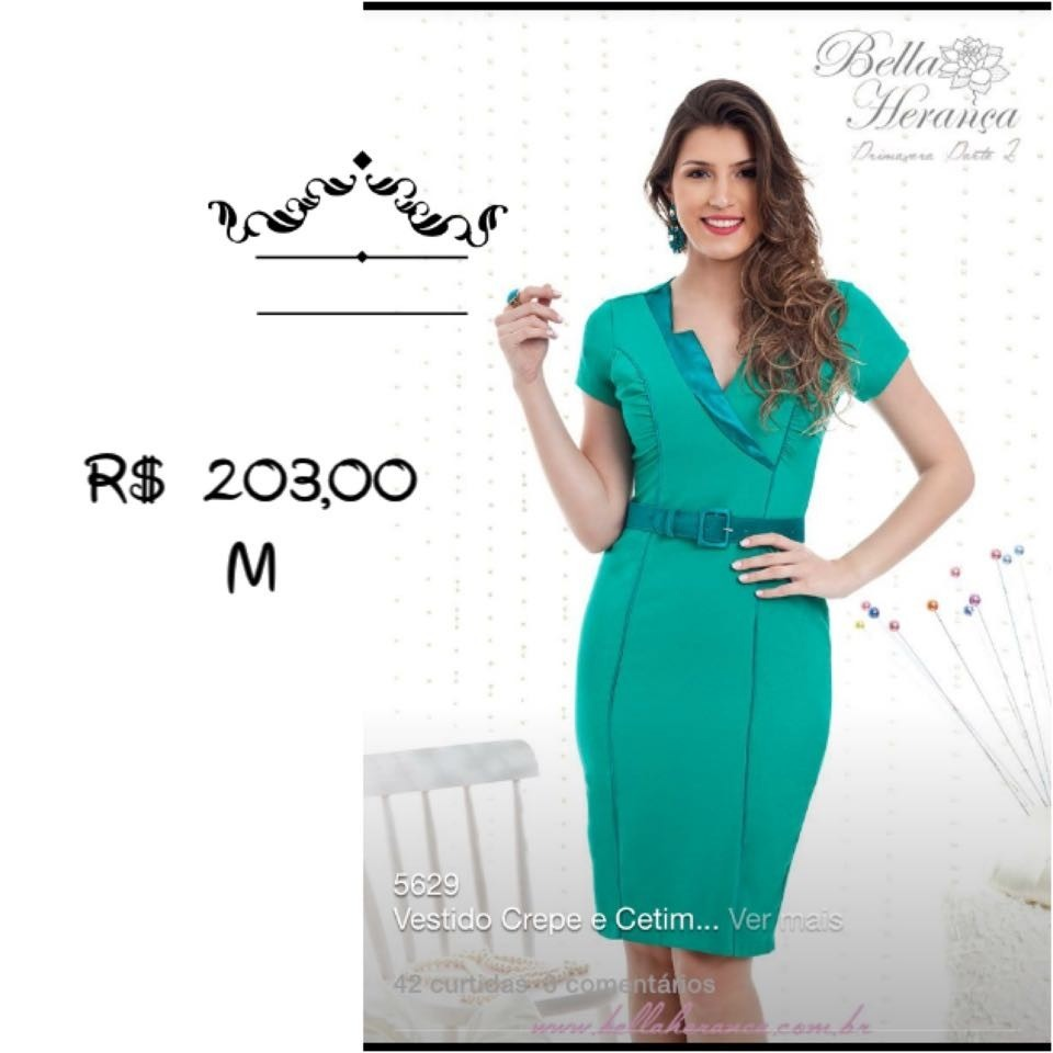 5465c2e15d Vestido Crepe E Cetim - Cor. Verde - Tam. M - R  203