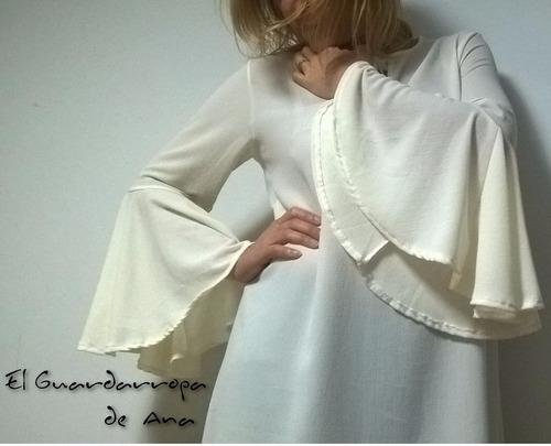 vestido crepe elastizado manga oxford escote corazón y lazo