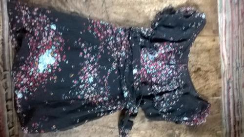 vestido crepe negro con estampa flores pepe jeans t1
