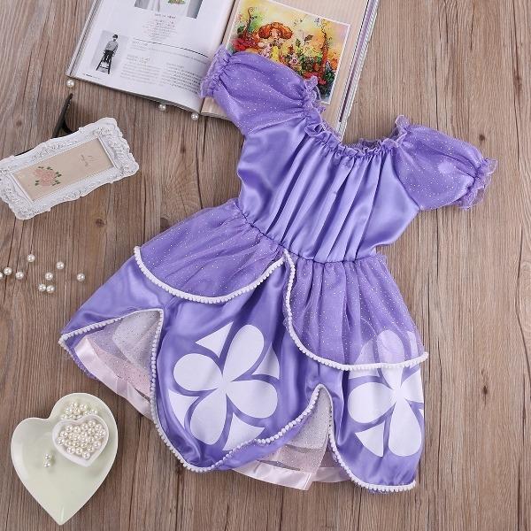 vestido criança menina princesa sofia lilás desenho animado r 66
