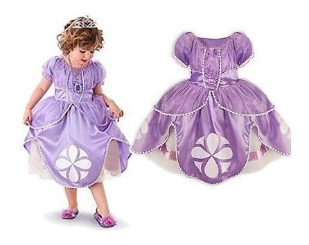 Vestido Crianca Menina Princesa Sofia Lilas Desenho Animado R