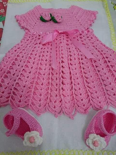 06ed47661716 Vestido Crochê Infantil Rosa Bebê 6 A 12 Meses + Sapato - R$ 79,90 ...