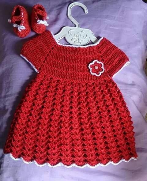 a891e11525eb Vestido Crochê Infantil Vermelho Bebê 6 A 12 Meses + Sapato - R$ 74 ...