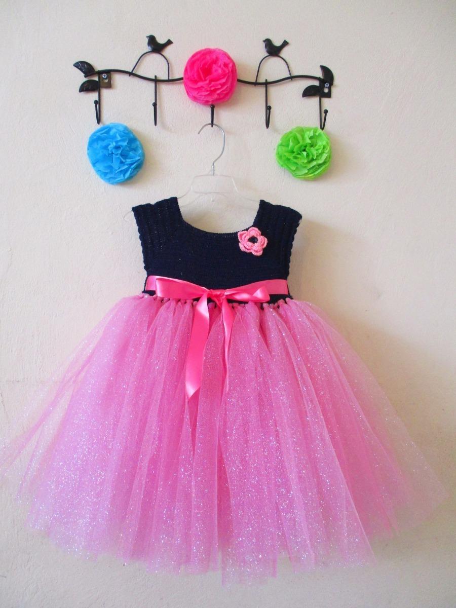 Vestido Crochet Con Tul Para Niña Talla 4 A 5 Años