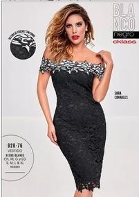 7f2437f2a4 Vestido Crochet Dama Negro  Blanco Cklass 928-76 Otoño18 Nmr