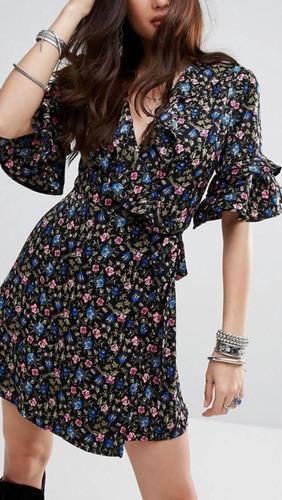 vestido cruzado estampado floral asos