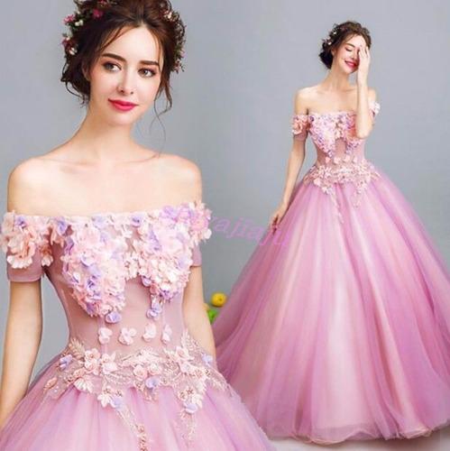 vestido cuello bandeja luxury princesa quinceañera fiesta
