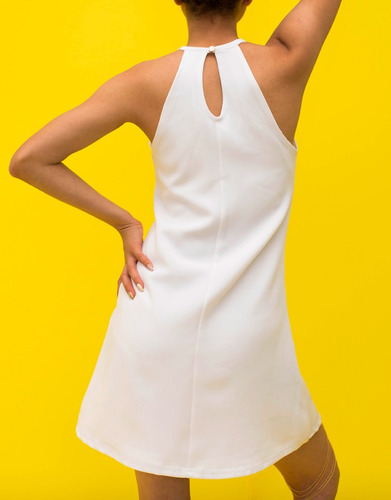 vestido cuello halter verano blanco ropa mujer