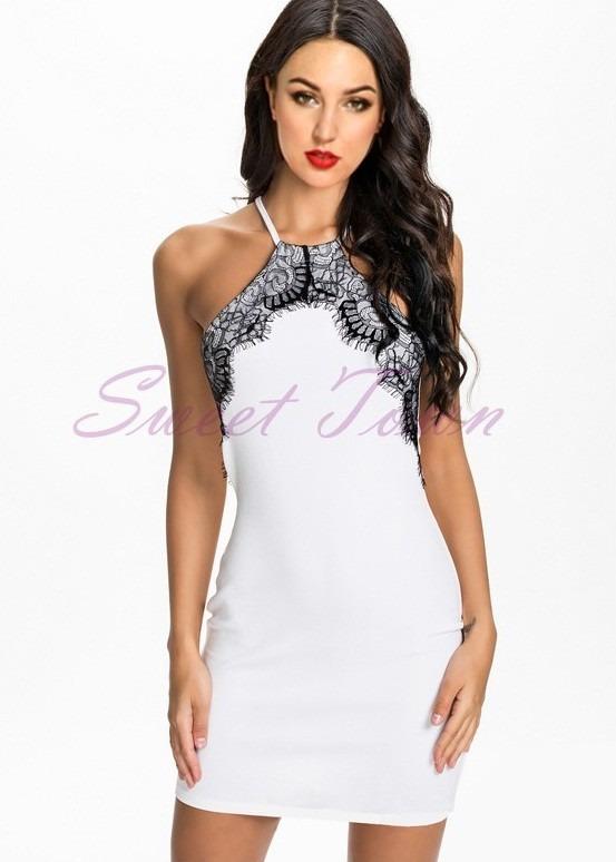 f9b2d0375 Vestido Curto Branco Com Detalhe Renda Preta Nova Moda Verão - R$ 79 ...