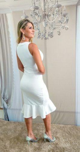 735b9891a3 Vestido Curto Branco Elegante Casamento Civil