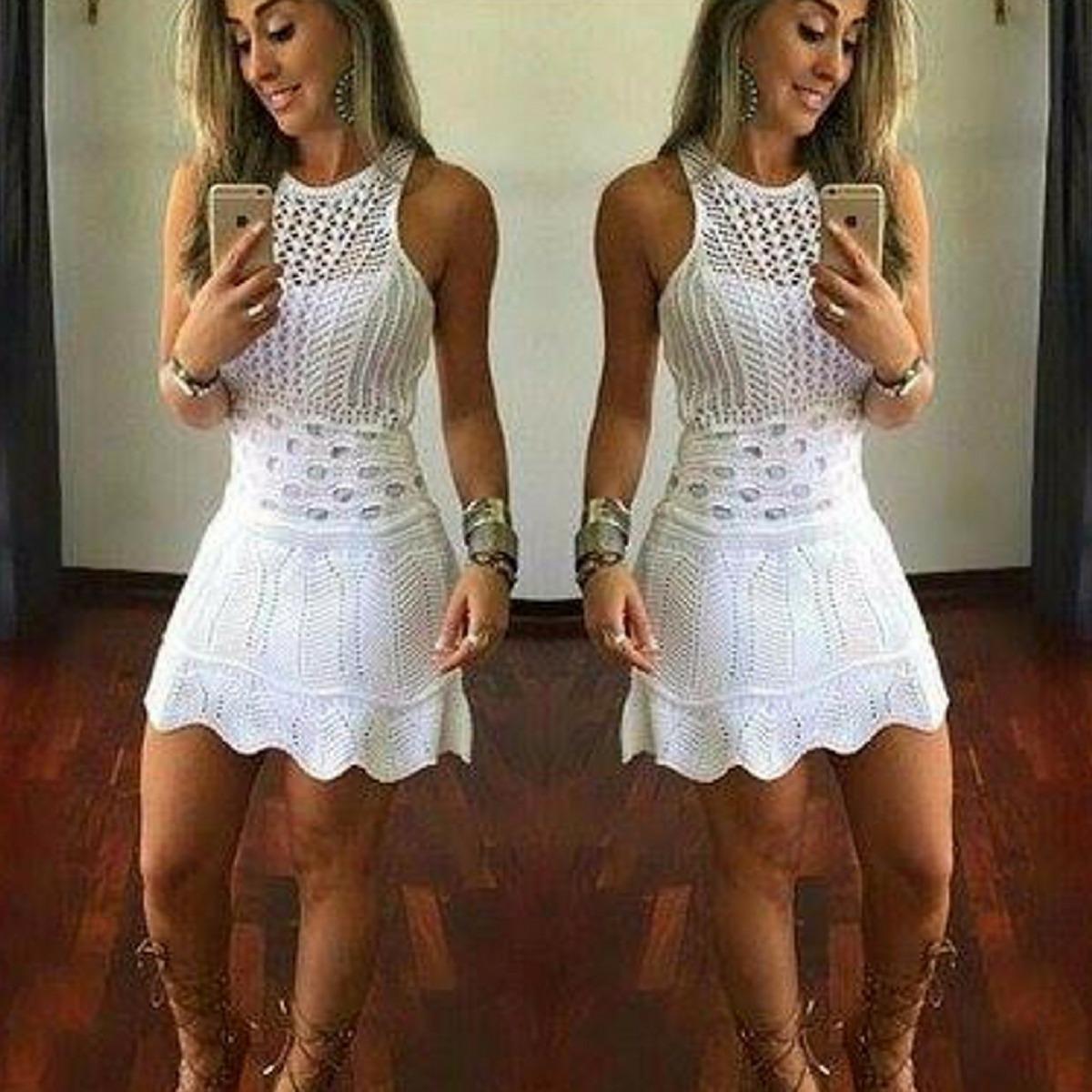 Vestido Curto Branco Madrinha De Casamento Tricot Trico