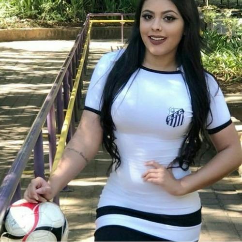 vestido curto casual torcedora santos futebol clube