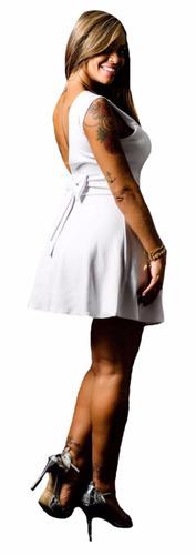 vestido curto colado decotado c/ bojo de laço festa