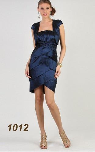 vestido curto com camadas e bolero em tafetá com elastano