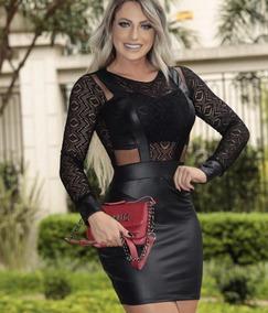 80b2b5b252 Vestido Cirre Manga Longa - Vestidos Casuais Curtos Femininas no ...