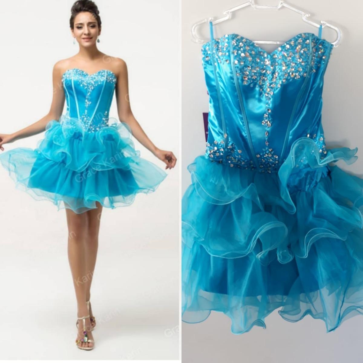 Vestido de festa azul curto rodado