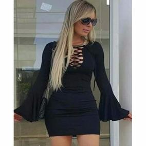 9a9e62bdcb Vestido Trançado Manga Flare - Vestidos no Mercado Livre Brasil