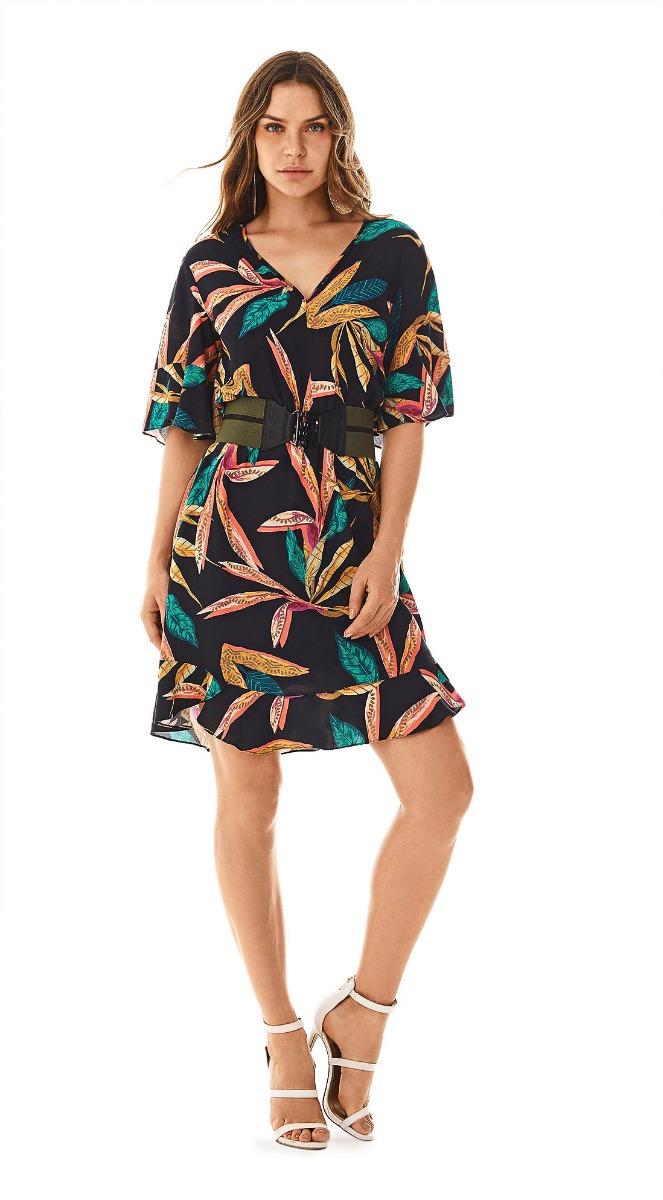 8e90260c831f vestido curto decote v com amarracao verde/preto morena rosa. Carregando  zoom.