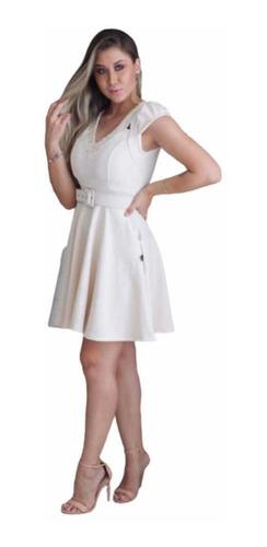 vestido curto em jacquard com bordado em pedraria e bojo