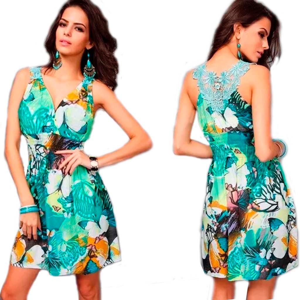 0d05636511bf Vestido Curto Estampado Verde Vestidos Basicos De Verao