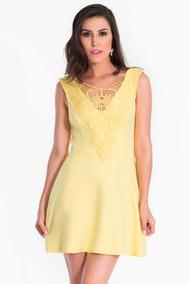 ae7fe78362 Vestido Curto Feminino Amarelo Marca My Place Promoção