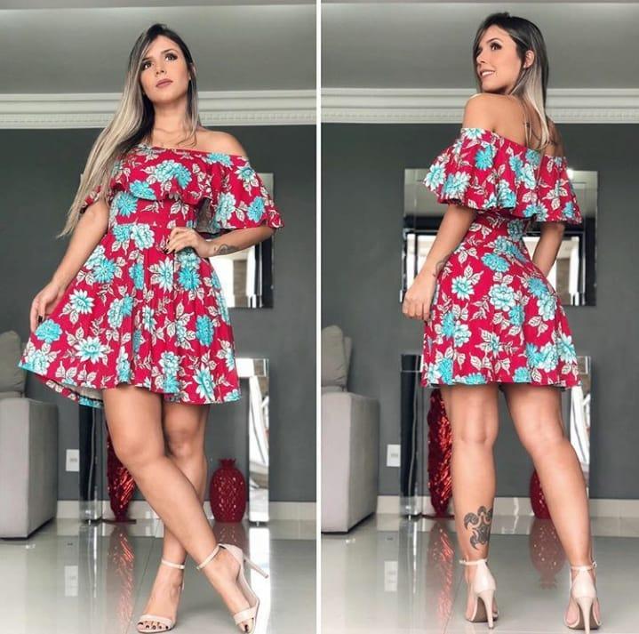 e06358cf Vestido Curto Feminino Babados Rodado Estampa 2019 Festa Dia - R ...