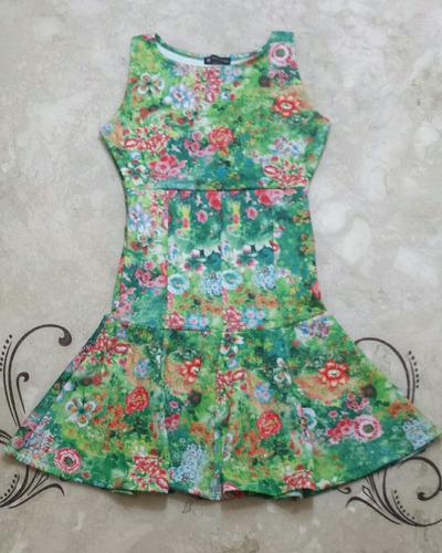 vestido curto feminino floral neoprene peplum  lycra novo m