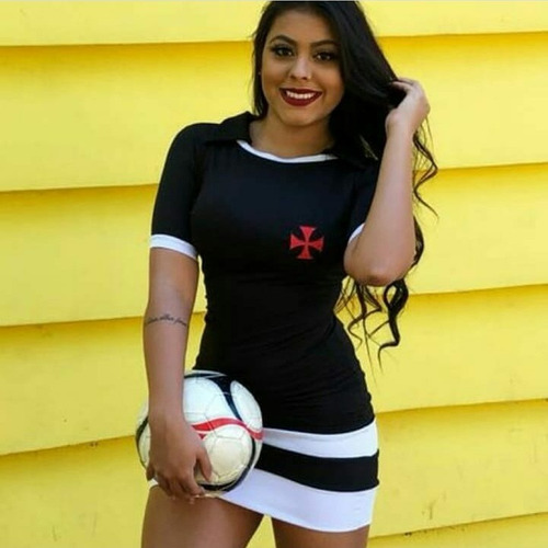 vestido curto feminino moda casual roupa vasco da gama time