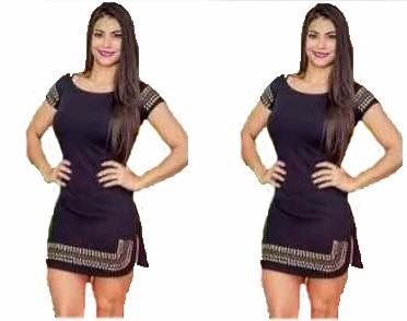 vestido curto feminino pedraria instagran manga curta